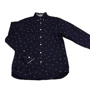 H&M boy's navy button-down shirt with unique print
